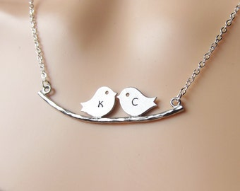 Custom Initial Handstamp Personalized Love Birds Kissing on Tree Branch - White Gold Couples Necklace