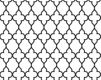 Evening Wallpaper C3514 White Quatrefoil cotton fabric from Riley Blake Fabrics - on sale