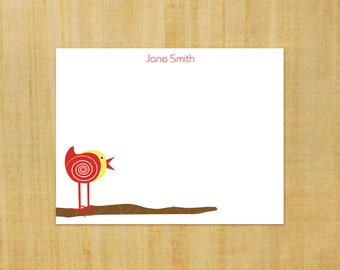 Stationery set of 8 PERSONALIZED Birdie on a Branch Cards