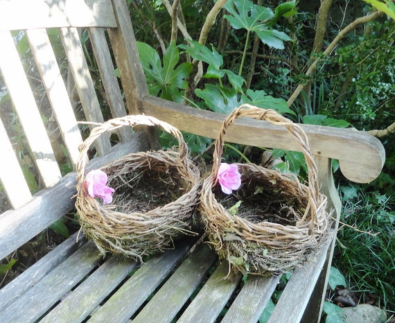Ready to Ship Set of 2 Rosemary Flower Girl Baskets  Woodland Ivy, set RB