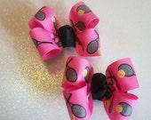Hot Pink and Black Tennis Hair Bows, Girls Hair Bows, Piggy Tail Bows, Girls Hair Accessories, Toddler's Hair Bows (Item 13-110)