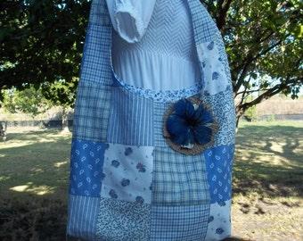 Vintage Blue Patchwork Hobo Bag