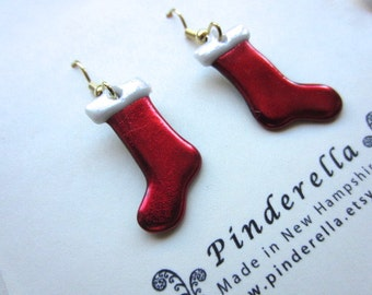 Red Christmas stocking earrings