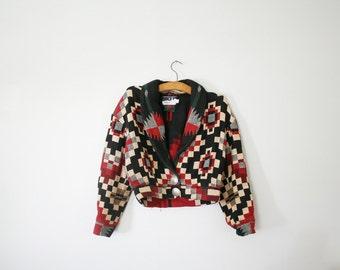 vintage 80s Southwest Cropped Blazer Jacket