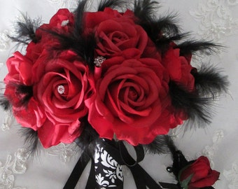 FREE SHIPPING 15 piece Red Silk  Roses Black And White Damask Bridal Bridesmaids and Boutonniere Destination Wedding Bouquet Set