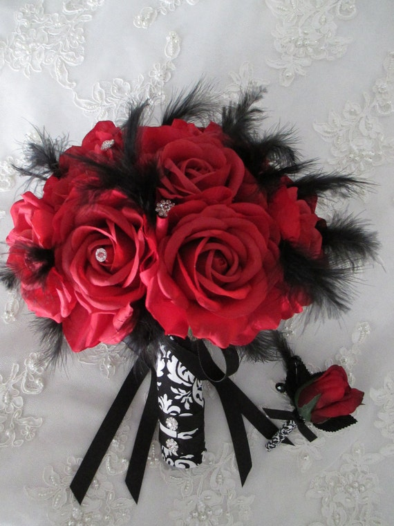 Items Similar To FREE SHIPPING 15 Piece Red Silk Roses Black And White Damask Bridal Bridesmaids