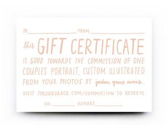 Gift Certificate for Custom Couples Portrait