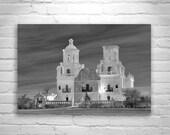 San Xavier Mission Tucson Arizona, Black and White Photograph, Wall Art, Church Art, Arizona Photography, Spanish Mission, Architecture Art