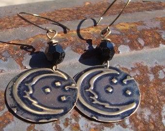Twilight Moon Mixed Media Dangle Earrings Vintaj Brass  hand forged