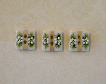 Baby Square Buttons - Handmade and Hand Painted - 3/8 inch - Set of 3