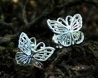 Silver Butterfly Earrings - Sterling Silver Post Earrings - Silver Stud Earrings - Delicate Pretty Girls Gift Small Everyday Wear Gift