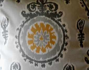 FREE ship, Decor pillow cover, yellow and grey, 18x18. FREE SHIP.