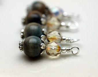 Vintage Style Bead Dangle Drop Charm Set in Porcelain and Khaki Czech Beads - 4 Piece Set