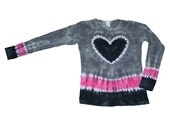Tie Dye Shirt in Hot Pink, Gray and Black with a Black Heart- Girls and Adult Sizes Available