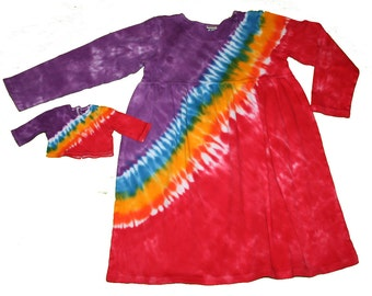 Matching Girl and Doll Dress and Shirt Set in Reverse Rainbow- Fits 18 and 15 Inch Dolls