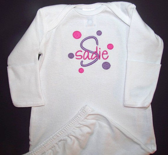 Personalized Baby Gown Sleeper With Mitten Cuffs And