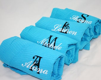 Monogrammed Turquoise Bridesmaid Robes, Bridesmaid Gifts, Personalized Gifts, c