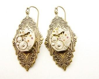 Steampunk Brass Victorian Clockwork Earrings