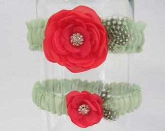 Coral and Mint Green Feather Rose Wedding Garter Set F292 - bridal garter accessory