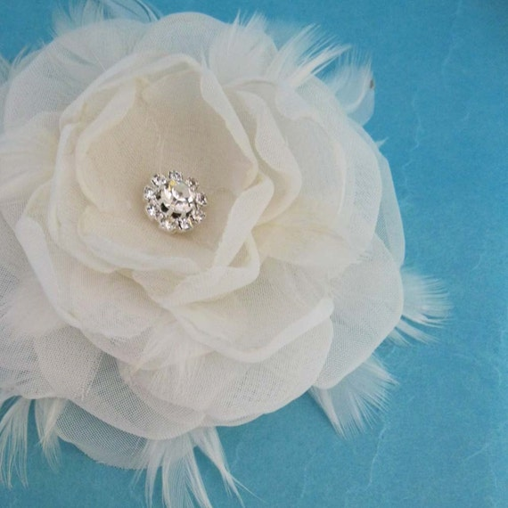 Custom Bridal hair clip for megan6346, ivory, rose 3 inch, Organza, Feather, Hair clip G301, wedding accessories