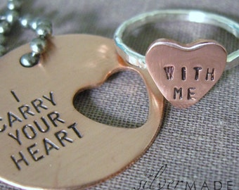COPPER I carry your heart. DISC KEYCHAIN and heart cut out ring