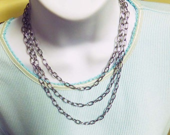 Graduated Triple Stainless Steel Chain Necklace 17 to 21 Inches in Length