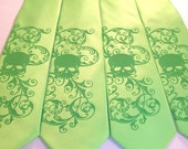 Hot Lime Green skull mens necktie - available print to order in custom colors