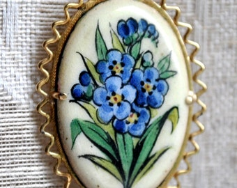 Scandavian Hand Painted Porcelain Pin