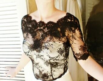 NEW BLACK Ballade del Vientre VICTORIAN bridal lace top black lace blouse black bridal bolero jacket black lace bolero