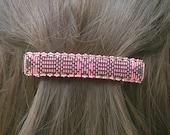 Lg Pink and Brown Lines.  Handbeaded seed bead barrette.  FTH