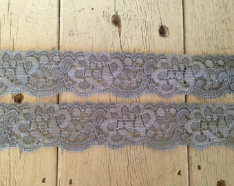 NEW-Stretch Lace DARK GRAY no. 9  -1 1/4 inch -5 yards for 3.29