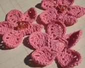 Pink Crochet Flowers - Sewing Appliques - 12 Pieces