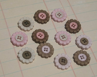 "Flower Buttons Pink and Brown - Sweet Sewing Button - 5/8"" - 12 Buttons"