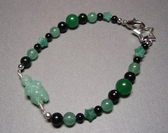 Green Goddess - Aventurine Green Goldstone and Onyx Gemstone Beaded Bracelet Lobster Claw Clasp