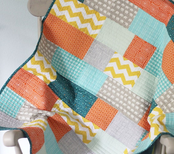 Teal and Chevrons Baby Quilt