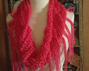 Cowl - Handmade Hot Pink with Fringe
