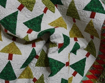 Christmas Quilt Modern Patchwork Green Tree Forest and Holly Leaves Free Shipping