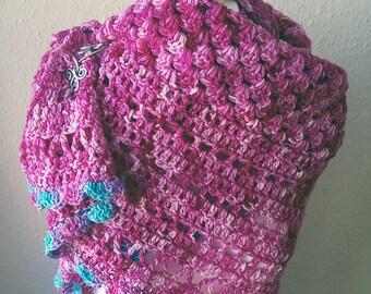 Fuchsia Hand Dyed Merino Wool Luxury Shawl Wrap Teen Adult Size by keiara SRA