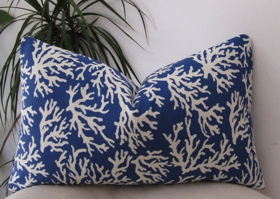 "Blue Coral Indoor/Outdoor Pillow Cover - Blue Lumbar Pillowcase - 12""x20"" Or 12""x18"""
