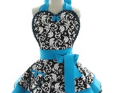 Retro Apron - Blue Lagoon Parisian Womans Aprons - Vintage Apron Style - Damask Pin up Rockabilly Cosplay Costume