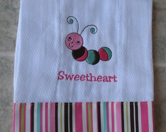Personalized embroidered baby burp cloth - caterpillar girl