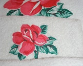 Vintage Martex White with Red Roses Towel Set  All Cotton 3 Piece