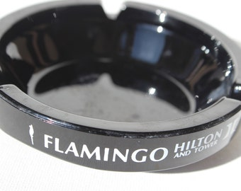 Las Vegas Flamingo Hilton and Towers Vintage Black Ashtray