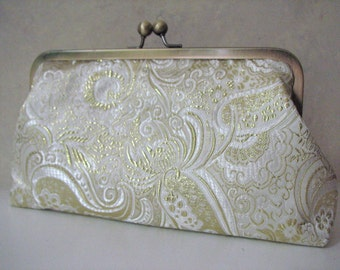 Handmade Gold Clutch, Convertible with Chain Strap