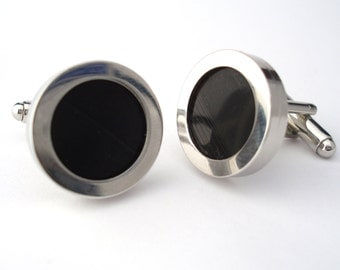 Vinyl Record Cufflinks - made from Real Hand cut Vinyl Records - DJ LP - Valentines Day Gift