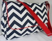 Messenger Style Diaper Bag Navy Blue Chevron matched with red Nautical Inspired