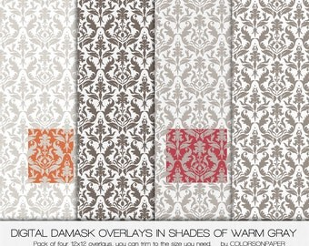 Digital Damask Overlays. Instant Download. Shades of Warm Grays. 12x12 Personal and Limited Commercial Use.