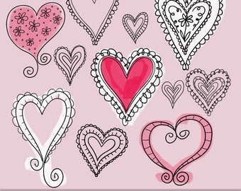 Doodled Hearts Digital Clipart, Photoshop Brushes & Stamps. Download. Personal and Limited Commercial Use.