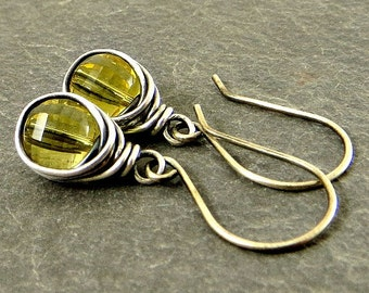 Gold Quartz Earrings, Wire Wrapped Earrings, Gifts for Her