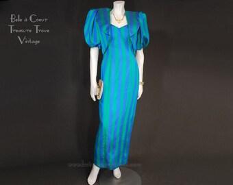 1980s Vintage Prom Dress Spaghetti Straps Cropped Bolero Jacket Blue and Green XS S